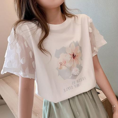 【tops】今季も大流行 定番ラウンドネックプリント切り替えゆったりTシャツ
