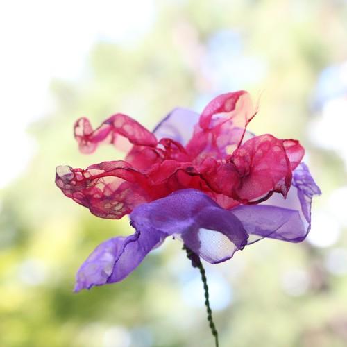 カラフルオーガンジーのアートフラワー【造花】|赤紫②