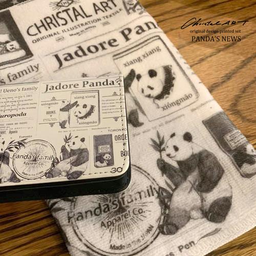 ■受注生産■デザインカードケース「パンダニュース」柄■