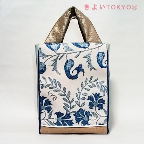 スザニ刺繍・ブルー唐草チックのバッグ【A4が入ります】/着物に合うバッグ(送料無料)