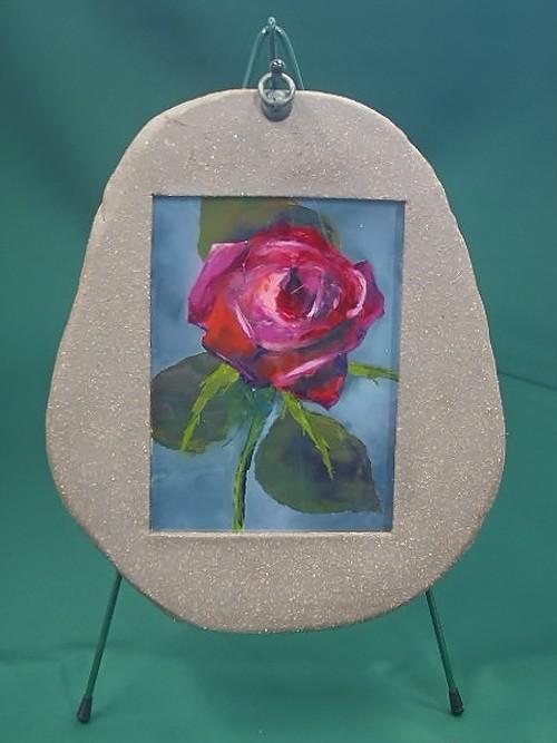 陶フレーム*薔薇のガラス絵(D)