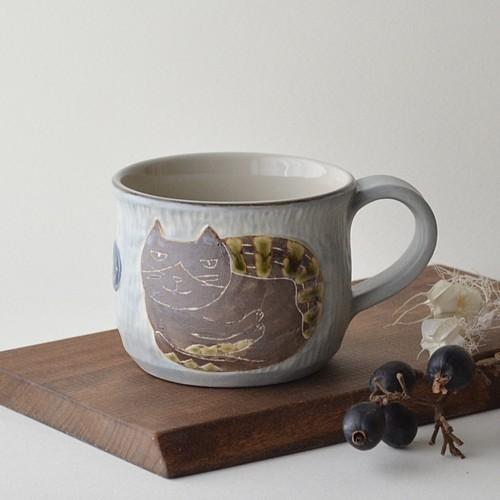 【直販限定】ハチワレネコの手彫りレリーフマグカップ 4
