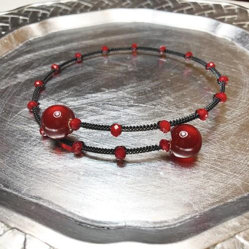 candy choker 【GD+黒糸】rouge