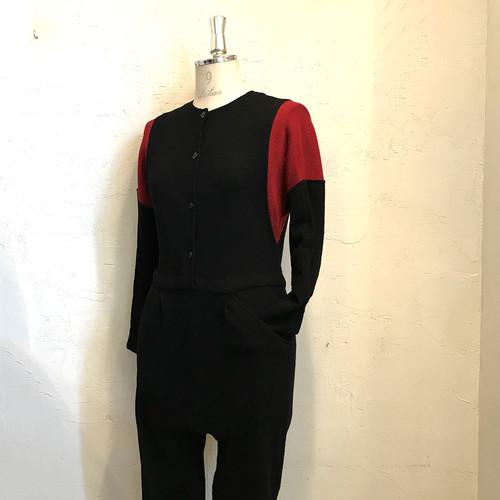ヴィンテージ ブラック ニット切替ジャンプスーツ オールインワン 管理番号 200316