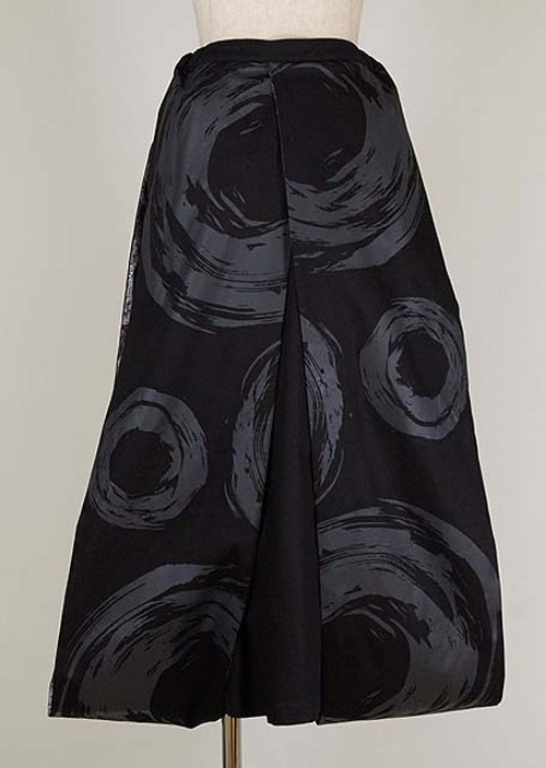 gouk 両端に振袖のように垂れた生地がついたロングスカート 黒 GGD27-S012 BK/M