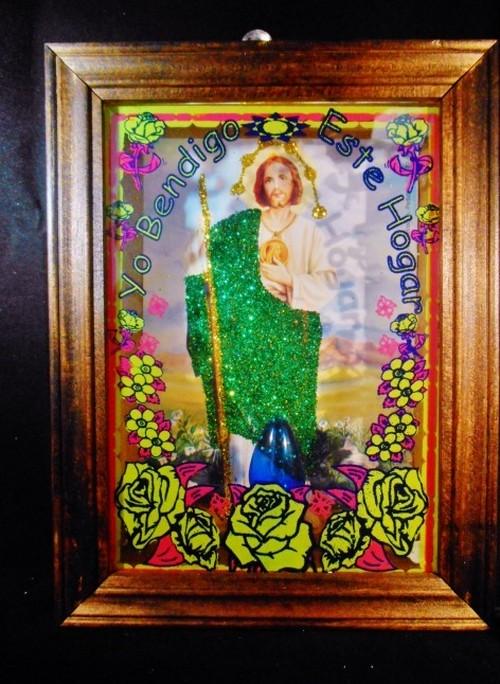 メキシコ☆電球入り ジーザス 光る壁掛け/ ガラス入り / カトリック お守り