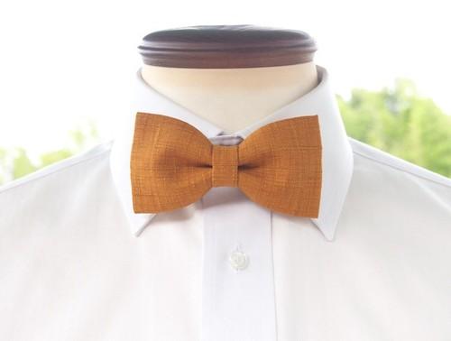 TATAN 和調変り織り蝶ネクタイ(からし色)