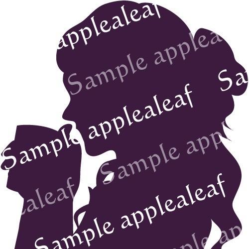 シルエット【紅茶タイム】紫印刷用