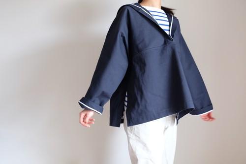 セーラー カラー シャツ コットン ヘビーオンス ドビー織り ダブルクロス【ネイビー】/ sailor collar shirt heavy oz cotton  【 navy blue 】