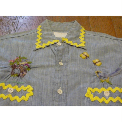 古着のハンドメイド刺繍入りシャンブレーシャツ (M) 【クリックポスト利用で送料無料】