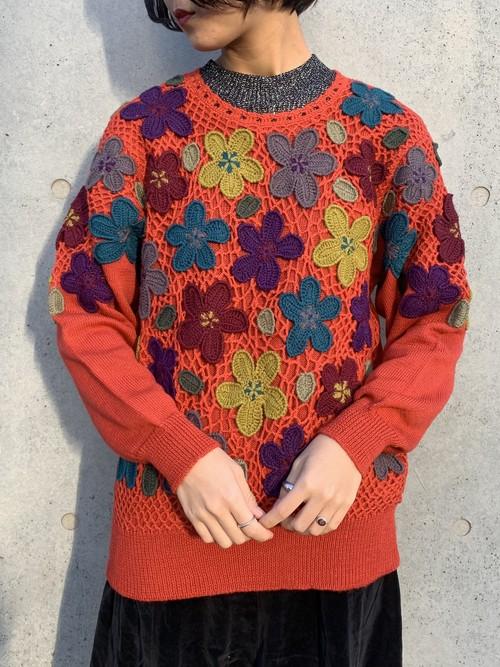 (TOYO) flower pattern design knit tops