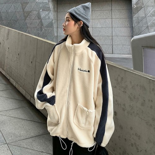 【送料無料】 スポーティボア♡ ライン入り ロゴ ボア ジャケット トップス 羽織り ジップアップ ウエストギャザー
