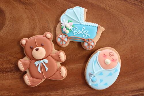 赤ちゃんパック ブルー【名入れオプション有】アイシングクッキー