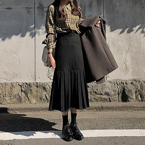 プリーツスカート ミモレ丈 Aライン 秋 冬 ボトムス 可愛い デート レディース ファッション 韓国 オルチャン