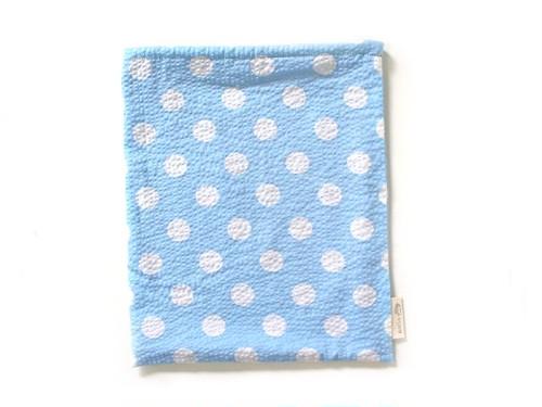ハリネズミ用寝袋 L(夏用) 綿リップル×スムースニット 水玉 スカイブルー
