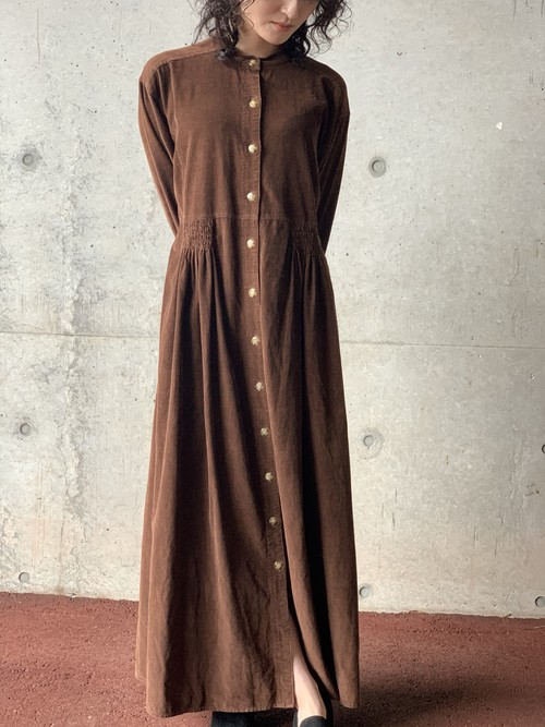 Vintage Corduroy Collarless Dress