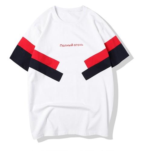 メンズ大きい男サイズロゴ&サイドボーダーTシャツ