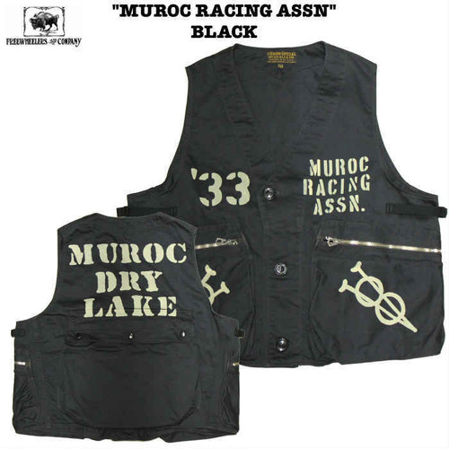 """MUROC RACING ASSN"" BLACK  FREEWHEELERS / フリーホイーラーズ UNION SPECIAL OVERALLS SPEED ENGINEER SLEEVELESS COAT Lot 1921019 ベスト"
