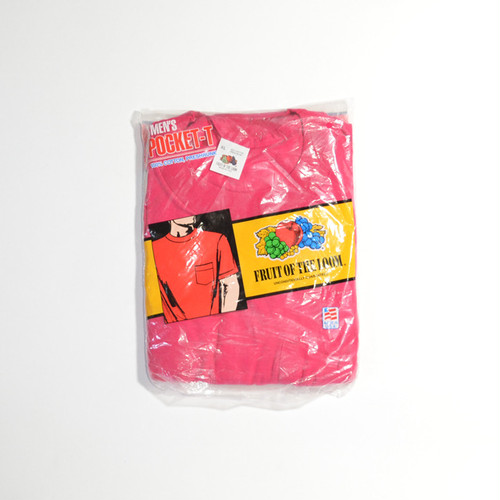 Deadstock★ 80's 90's FRUIT OF THE LOOM ポケTEE(SHOCKING PINK)XL