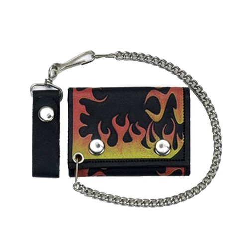 PHANTOM NYC / Leather Fire Flame Small Wallet with Chain ファントム ニューヨーク ファイヤー フレーム レザー ウォレット 折りたたみ財布 ウォレットチェーン付き 通販 MADE IN NYC