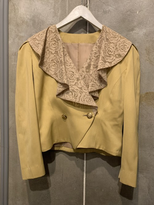 (TOYO) lace collar double button jacket