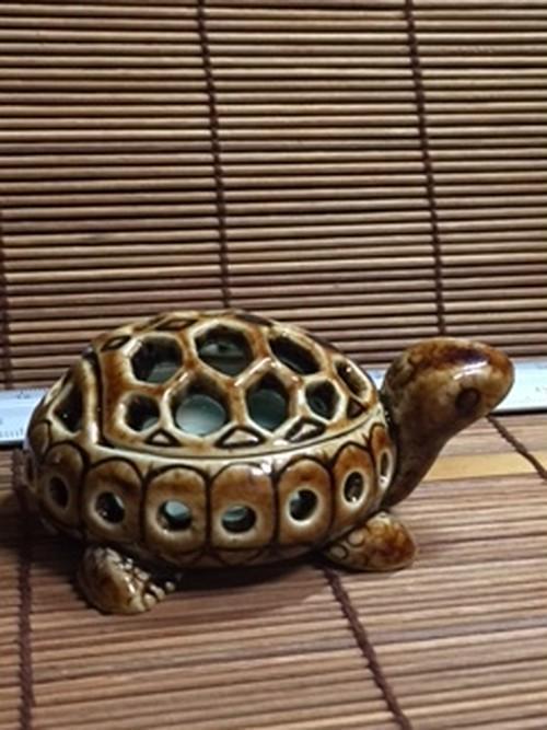 J6 カメ水草鉢(茶・穴あり・蓋付き)