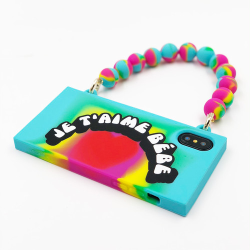 "RAINBOW HANDBAG CASE ""JE T'AIME BEBE"" for iPhoneXS/iPhoneX"