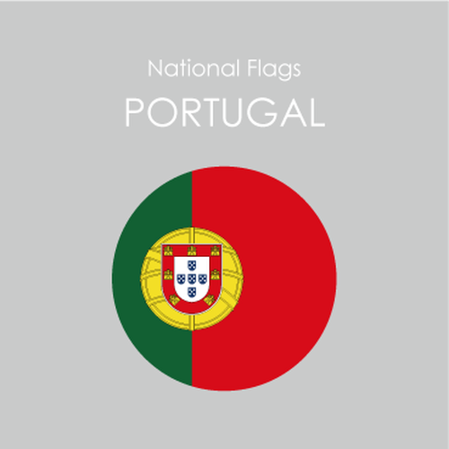 円形国旗ステッカー「ポルトガル」