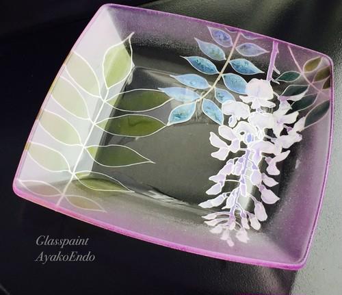 【藤】手描きガラス絵付けスクエアプレート 還暦祝い・退職祝い・インテリア・新居祝い・新築祝い