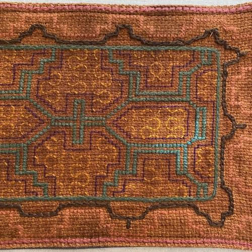 刺繍のカフェマット12 刺子風 裏付き 南米シピボ族の手刺繍