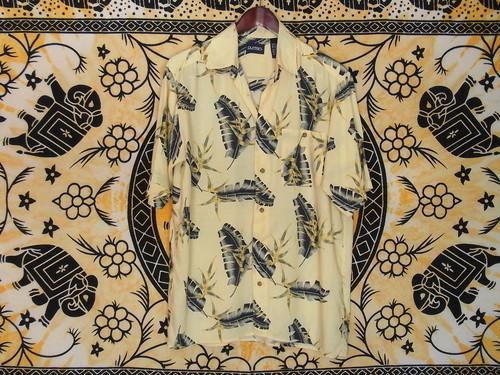 USA古着アロハシャツS黄色puritanピューリタン葉柄Rayon美品