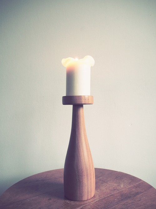 """""""JEANNE"""" Wood Candle Stand"""