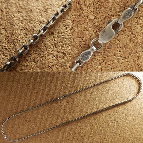 【在庫商品】Silver925 あずき4面カットチェーンネックレス 0804C BK