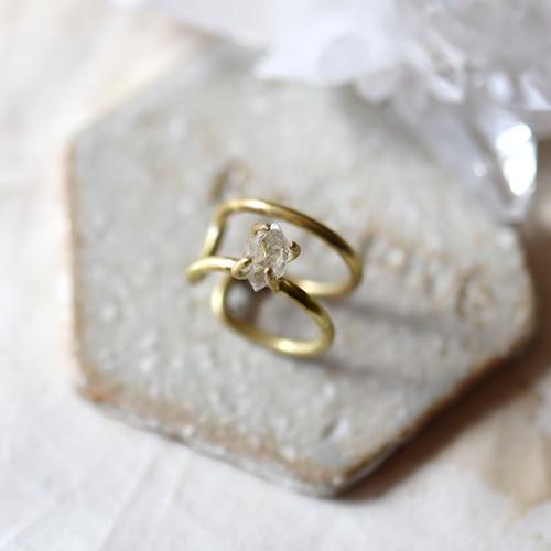 【Sサイズ】原石ダイヤモンドクォーツの2連イヤーカフ