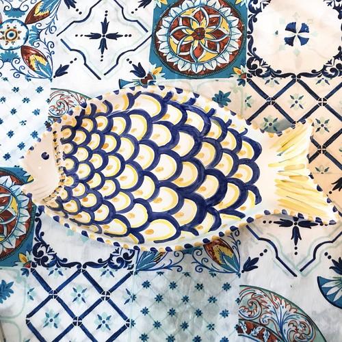 マヨリカ焼き 魚皿 特大 ブルー