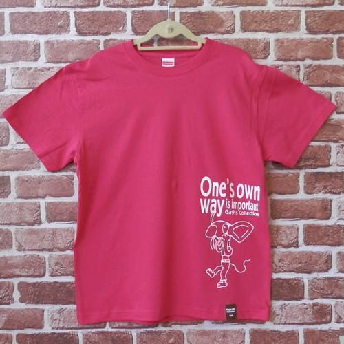 あっかんべ~ねずみ 半袖Tシャツ トロピカルピンク