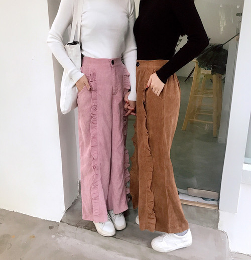 corduloy fril wide pants 3294