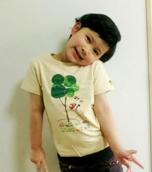 バングラデシュ 子供Tシャツ 1A 鳥と木(男女兼用)
