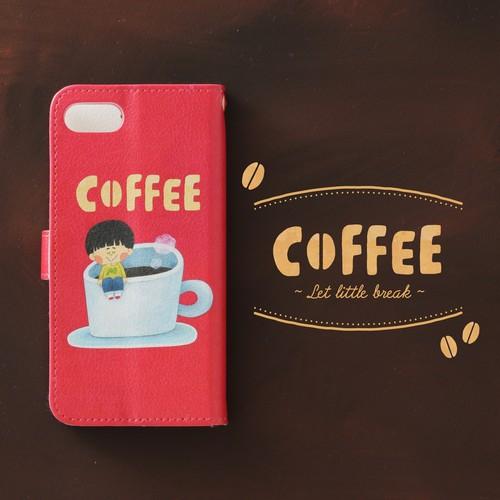 送料無料♪手帳型スマホケース/iPhone/Galaxy/Xperia/ほぼ全機種対応♪イラストが可愛い 【テーマ:coffee cafe 赤】