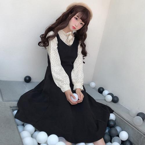 【セットアップ】韓国系スウィートドット柄シャツ+レトロファッションAラインサロペット