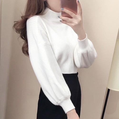 【トップス】韓国版ゆったりパフスリーブ無地プルオーバーニットセーター