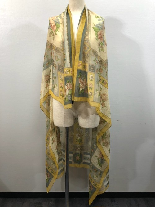 .ETRO SILK100%FLORAL PATTERNED LARGE SIZE SHAWL MADE IN ITALY/エトロシルク100%花柄大判ショール(ストール) 2000000030432
