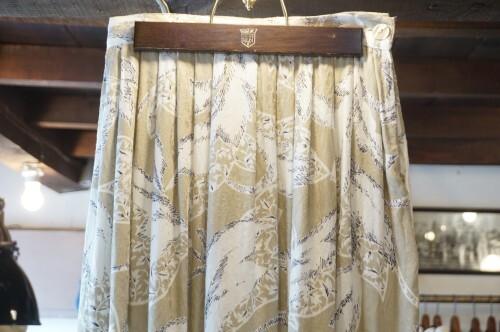 90's rayon jacquard long Skirt