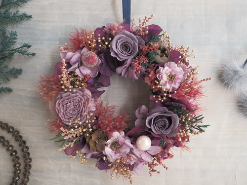 Petite Couronne< Violet fumé >*受注制作・幸せ舞い込むミニリース *プリザーブドフラワー*花*ギフト*クリスマス*記念日*結婚祝い*冬の贈りもの*2018