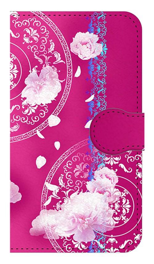【鏡付き Sサイズ】Peony Dream 芍薬の夢 フューシャピンク 手帳型スマホケース