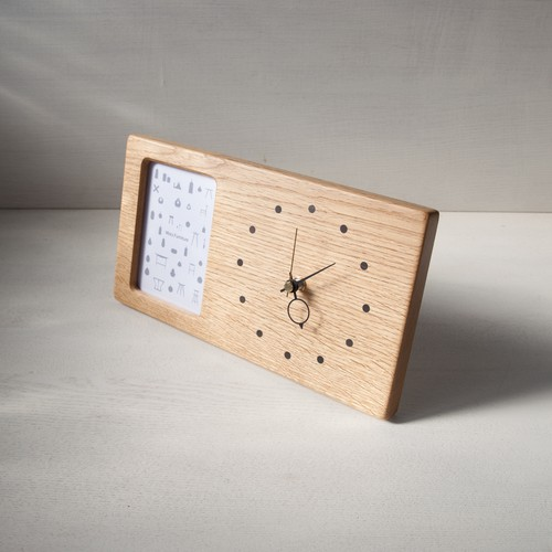 木の時計&フォトフレーム No132   ナラ
