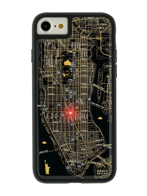 FLASH NY回路地図 iPhone7/8 ケース 黒 【東京回路線図ピンズをプレゼント】