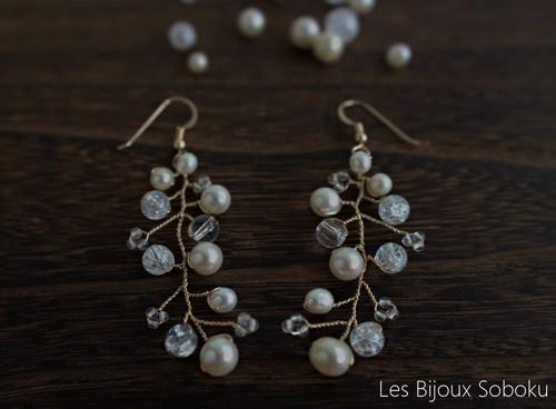 あこや真珠とクリスタルの小枝アクセサリー・パールピアス