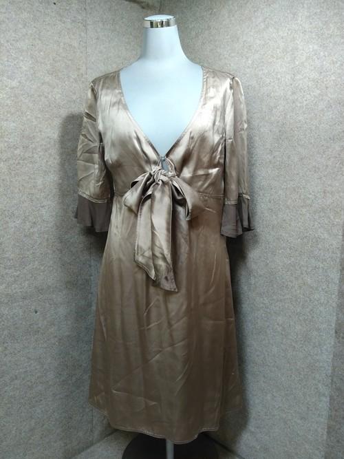 MAX&Co シルク 絹 ワンピース 38 ブロンズ色 u1179a