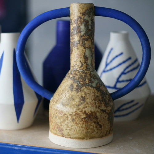 "Sophie Alda ""Extra large jug eared vase in bright blue and dappled brown"""